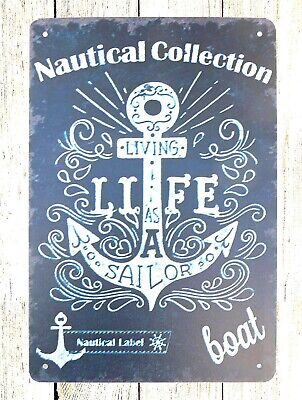 Bedroom Wall Decor Nautical Collection Boat Anchor Tin Metal Sign • 11.23£