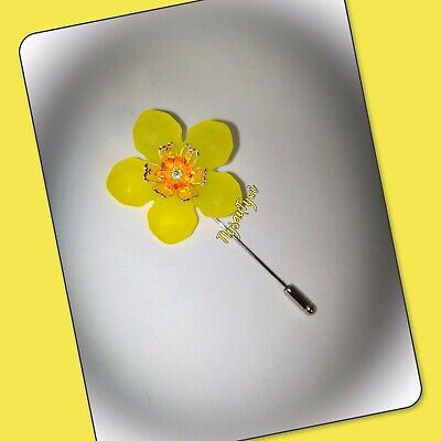 £3.95 • Buy Daffodil Pin Brooch .Safety / Silver-tone/ St.Davids Day / Rugby