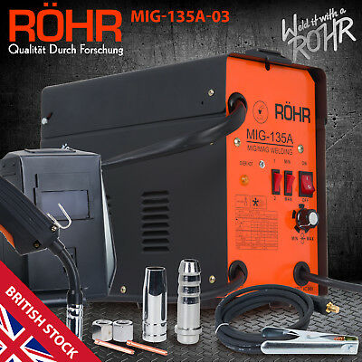 MIG Welder Gasless Inverter 240V / 135 Amp / AC No-Gas Welding Machine - ROHR 03 • 139.99£
