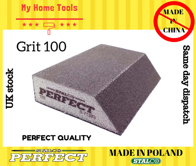 100 GRIT Abrasive Wet And Dry ANGLED Sanding Foam Sponge Block Paint Stalco • 4.99£
