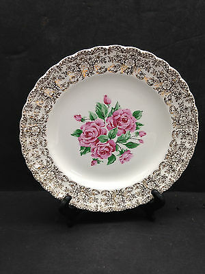 $12.29 • Buy China Bouquet By Sebring 9 3/4  DINNER PLATE Gold Filigree Border Pink Rose Ctr