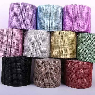 1 Yard Diamante Rhinestone Mesh Ribbon Crystal Banding Wedding Cake Decoration • 2.45£