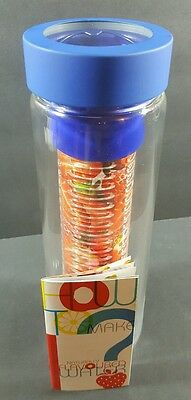 Adnart Flavourit Glass Water Bottle Fruit Infuser Blue SWG11 • 11.28£