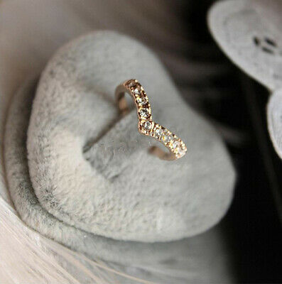 AU6.80 • Buy Cute Rose Gold V Shape Crushed Diamond Pinky Finger Small Ring For Women Wear