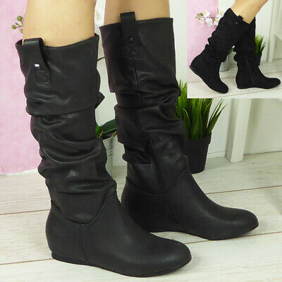 Ladies Mid Calf Boots Womens Pixie Rouched Hidden Wedge Knee Slouch Shoes Sizes • 19.99£