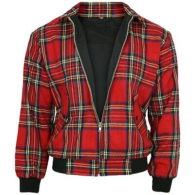 Relco Red Tartan Harrington Jacket Skinhead Mod Scooter Ska Punk Retro CLEARANCE • 19.99£