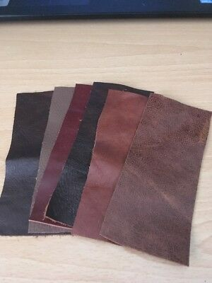 £3.75 • Buy 6 Xbrown Leather Offcuts/ Scraps/ Remnants For Patchwork / Repairs+ Crafts