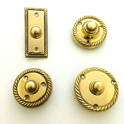 £6.99 • Buy Solid Polished Brass Georgian Door Bell Chime Push Button Press