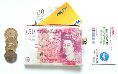 £3.79 • Buy Printed Dollar Pound Euro Currency Coin Holder Purse Wallet