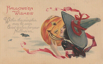 $ CDN46.19 • Buy S21 1673 Vintage Halloween Postcard Series 1238 A Lovely Witch Holds JOL C. 1905