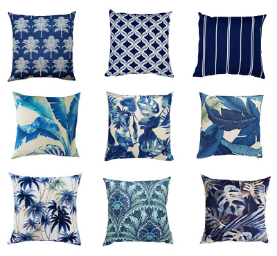 AU45 • Buy Blue Tropical Indoor/Outdoor Cushion Covers (Australian Made)