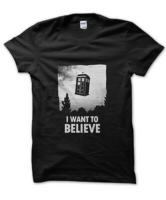 £11.99 • Buy I Want To Believe Tardis T-shirt Funny Nerd Tee Dr Who Doctor Alien Present Gift