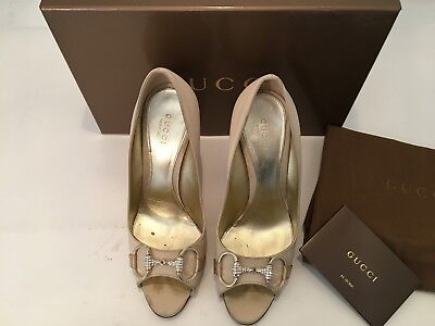 £267.01 • Buy Gucci Women's Shoes Size 7 Open Toe Classic With Rhine Stone Cream Color