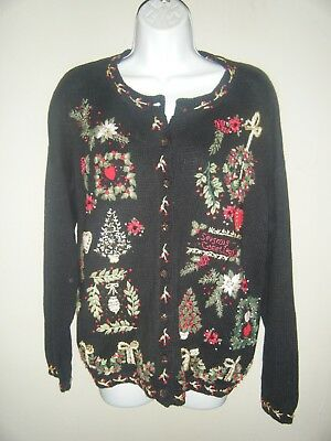 $14 • Buy HEIRLOOM COLLECTIBLES L Large Embroidered Christmas CARDIGAN SWEATER 2000 2P
