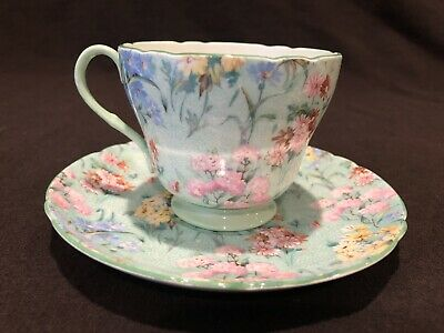 Shelley Melody Chintz 13453 Cup And Saucer Green Rim Flowers Floral • 23.57£
