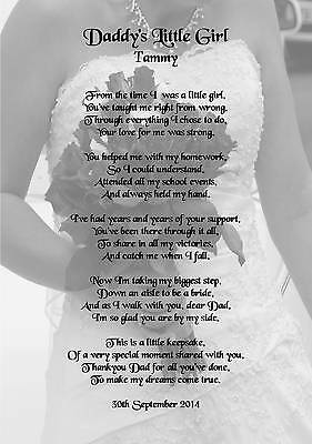 £2.49 • Buy Wedding Day Thank You Gift, Father Of The Bride Poem A5 Photo 260gms
