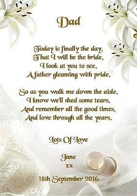 Wedding Day Thank You Gift, Father Of The Bride Poem A5 Photo • 2.49£