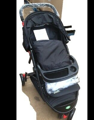 New BabyStart Deluxe 3 Wheeler Baby Pushchair Black With Raincover & Footmuff • 69.99£