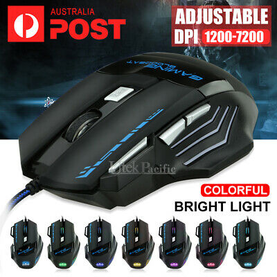 AU19.45 • Buy 7 Button 7200 DPI LED Wired USB Ergonomic Optical Gaming Mouse For PC Laptop Mac