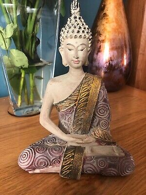 VINTAGE WORN THAI SITTING BUDDHA STATUE FIGURE ORNAMENT NEW & BOXED 20cm • 17.95£