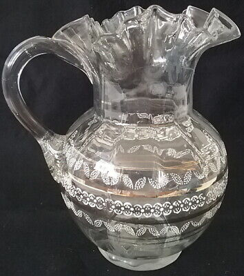 $34.95 • Buy Victorian Ruffle Edge Clear Glass Pitcher Applied Handle Enamel White Gold Paint