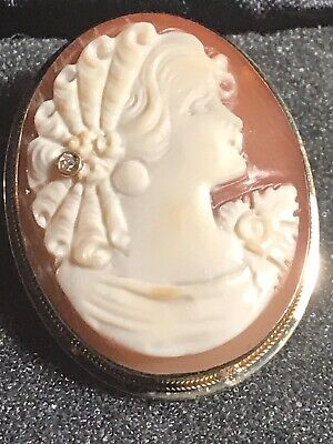 $275 • Buy M+M SCOGNAMIGLIO ITALY 14KT Gold And Diamond CAMEO Brooch Pendant Signed New