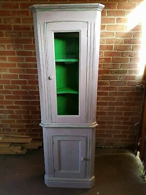 Shabby Chic Glass Corner Display Cabinet/Cupboard Painted In Annie Sloan Paint.  • 75£
