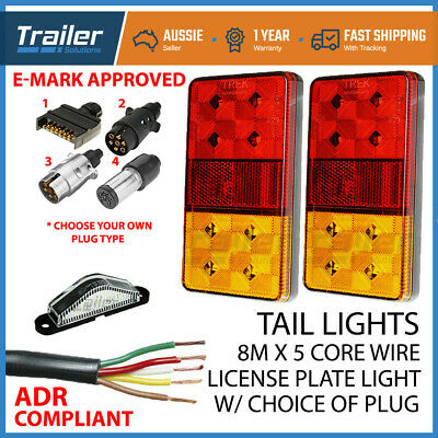 AU42.95 • Buy Pair Of 8 LED TRAILER LIGHTS KIT, 1x NUMBER PLATE, PLUG, 8M X 5 CORE CABLE 12V