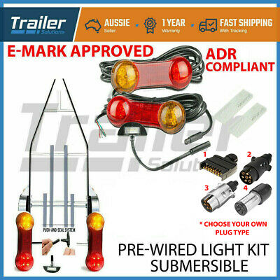 AU51.63 • Buy 2x 8 LED Submersible Single Axle Trailer Light Kit ,Plug & Play, Water Proof 12V