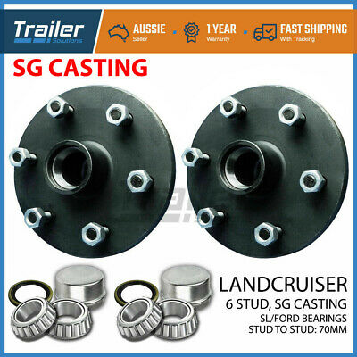 AU86.88 • Buy Pair Landcruiser 6 Stud Trailer Hubs 6/139.7 With Ford SL Bearings. SG CASTING