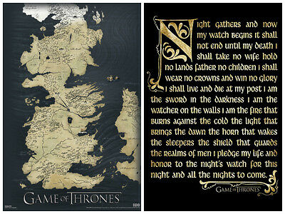 £13.44 • Buy  Game Of Thrones 2 Individual Posters! Map Night Watch Seven Kingdom Fantasy New