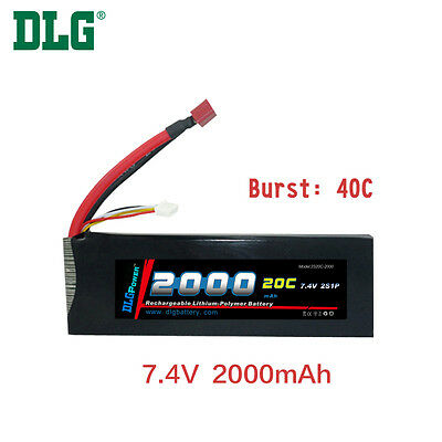 $ CDN29.99 • Buy Genuine DLG RC Battery 7.4V 2S 20C 2000mAh Burst 40C Li-Po LiPo Dean's T Plug