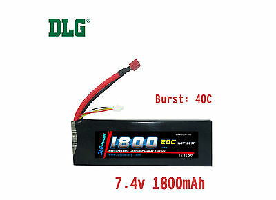 $ CDN23.99 • Buy Genuine DLG RC Battery 7.4V 2S 20C 1800mAh Burst 40C Li-Po LiPo Dean's T Plug