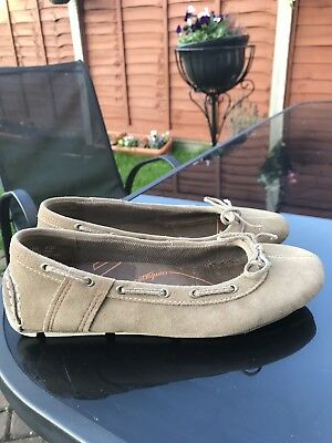 BEIGE TAN TIMBERLAND BALLET STYLE MOCCASIN PUMPS SZ UK 5 USA 7w • 39.99£