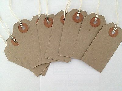 Strung Manilla Buff Luggage Labels Bag Tie Craft Wedding Brown Card Gifts String • 3.99£