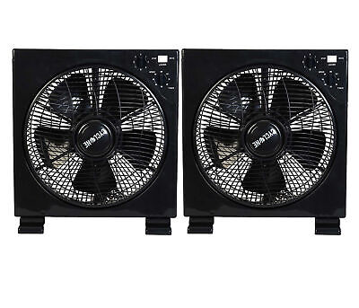 X2pcs Hydroponics 12   Floor Box Fan With Timer Multiple Speed Grow Tent Room • 40.25£