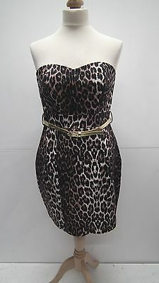 BNWT Animal Print Belted Strapless Dress From Jane Norman Size 12 • 15.95£