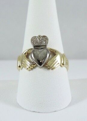 $399.99 • Buy .585 14k Yellow & White Gold Claddagh Ring - Size 10 Claddaugh  5.5 Grams