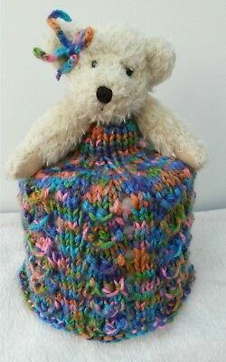 Knitted Toilet Roll Cover Teddy • 7.99£