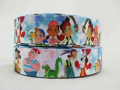 £0.99 • Buy 2 Metre New White Jake And The Never Land Pirates Ribbon Size Inch Bow Headbands