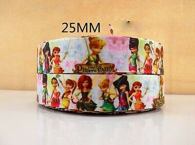 £0.99 • Buy 1 Metre New Tinkerbell Pirate Fairy Ribbon Size 1 Inch Bows Headbands Cake