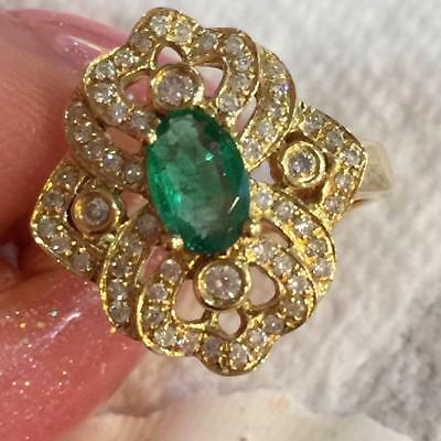 $759 • Buy Estate Vintage Natural Emerald 0.79ct 18K Solid Gold And Diamond Ring Size5 #R44