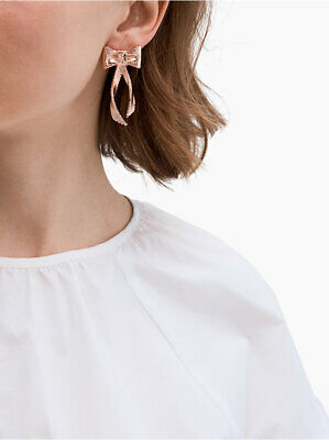 $ CDN48.19 • Buy Kate Spade ALL WRAPPED UP Grosgrain Bow Statement Earrings In Rose 🌹 Gold NWT