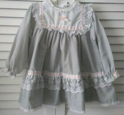 a2f3c44d6 Alexis Vintage Grey White Lace Detail Easter Heirloom Dress Bows 2T Vguc •  22.00$