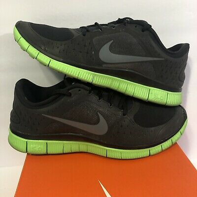 huge discount 19284 d6fcb Nike Free Run+ 3 Shield H20 Repel Running Shoes 536840-003 Black Green Mens  10.5
