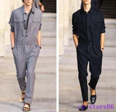 $ CDN73.35 • Buy Mens Work Casual Slim Jumpsuit Lapel Long Sleeve Fashion Pants Trousers Overalls