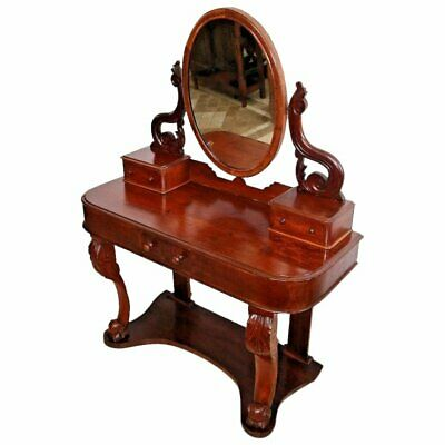 $1116 • Buy Gorgeous Art Nouveau Antique Vanity Adjustable Mirror Brass ClipsThree Drawers