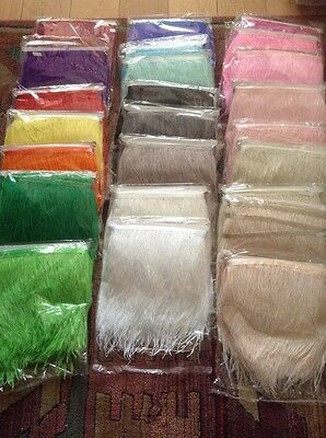 £7.46 • Buy 56 COLOURS! 1 Metre Ostrich Feather Quality Satin Ribbon Trimming Fringe 10-15cm