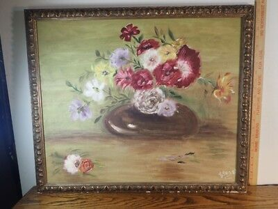 $ CDN119.77 • Buy Esther P. Original Painting On Canvas Flowers In A Belly Vase Wood Frame 22x26