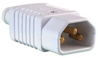 1 X Rewireable Heavy Duty White IEC C14 Socket Connector Mains Plug Male ONE • 3.49£